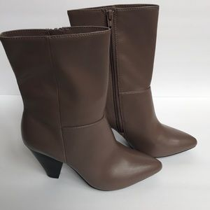 Christian Siriano taupe side zip bootie.